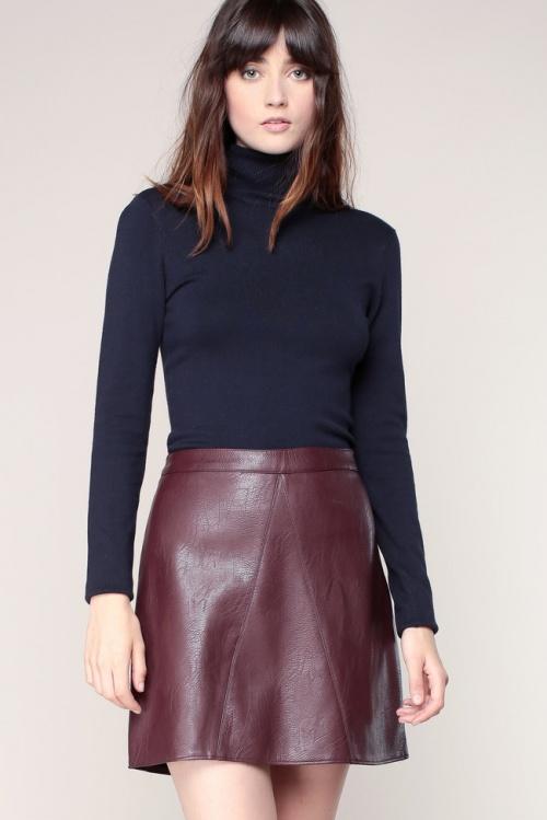 Vero Moda jupe cuir bordeaux