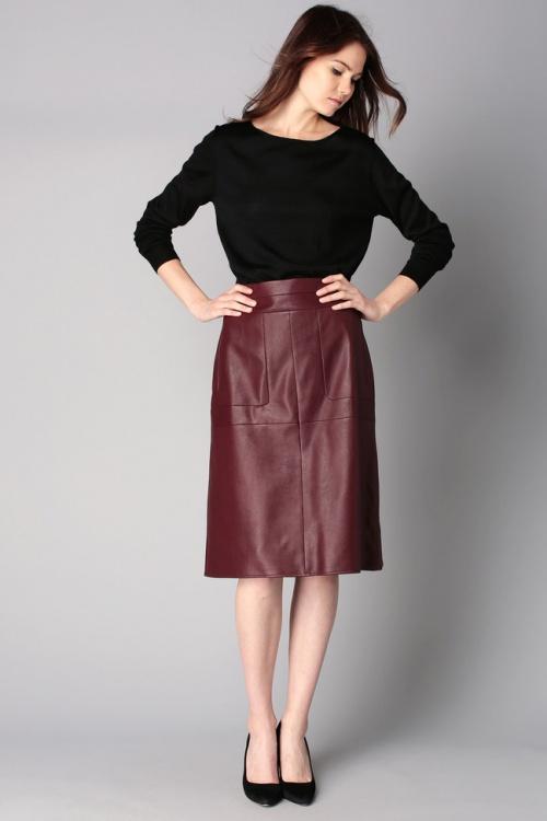 BCBG Max Azria jupe mi longue cuir