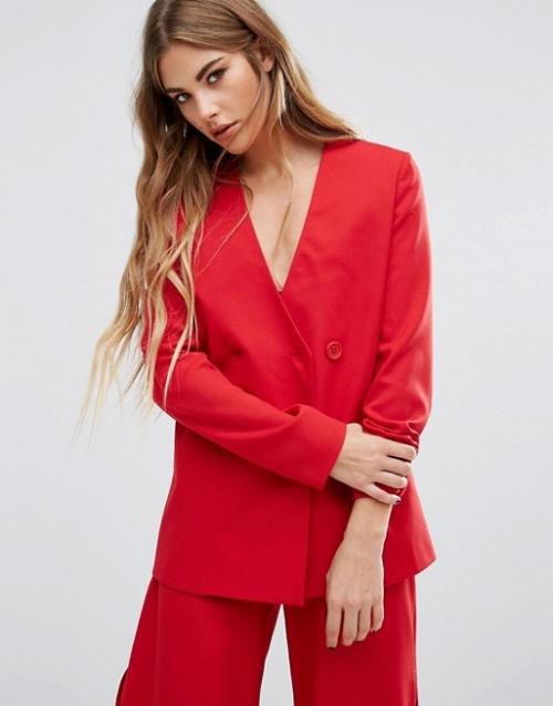 Fashion Union top blazer rouge