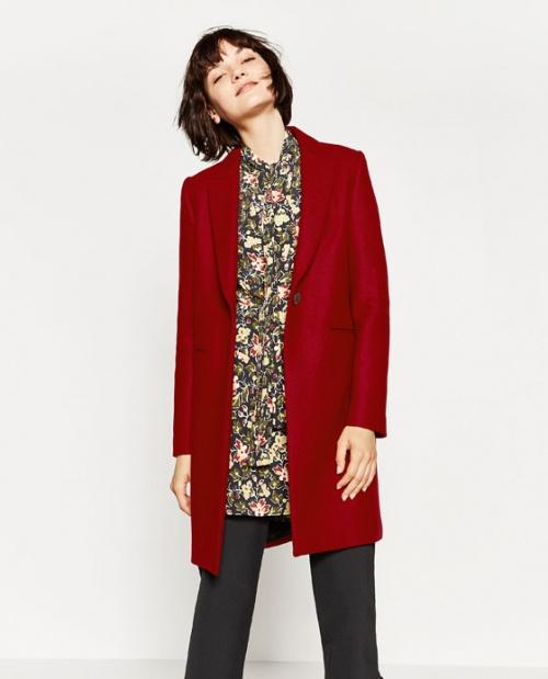 Zara manteau long rouge vif