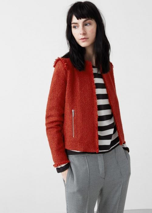 Mango veste tweed rouge