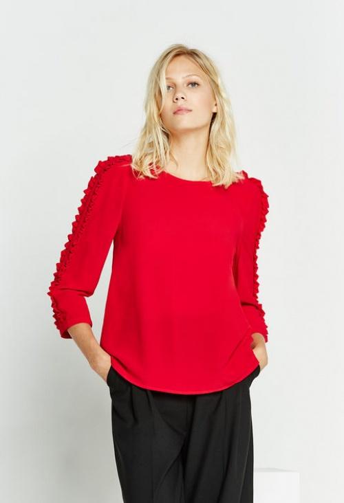 Claudie Pierlot - Top rouge volants manches