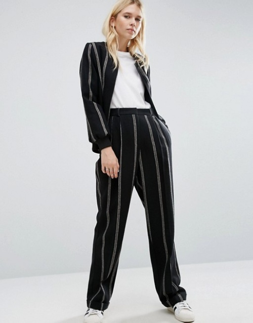 Asos - Pantalon fines rayures