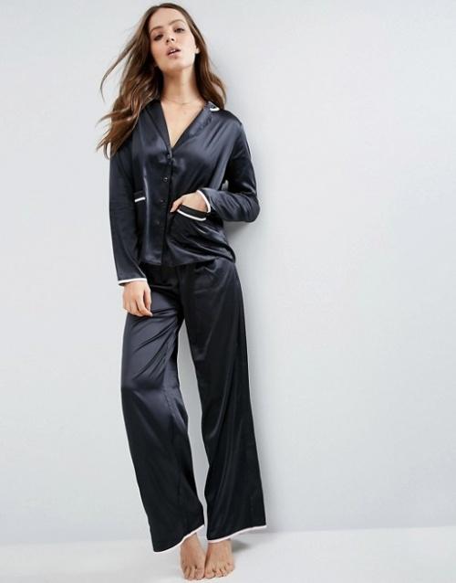 Asos - Pyjama long noir en satin
