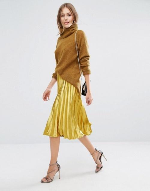 Boohoo - Jupe dorée plissée