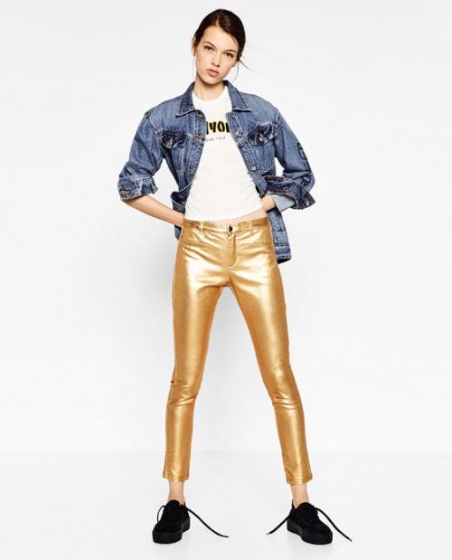 Zara - Pantalon doré