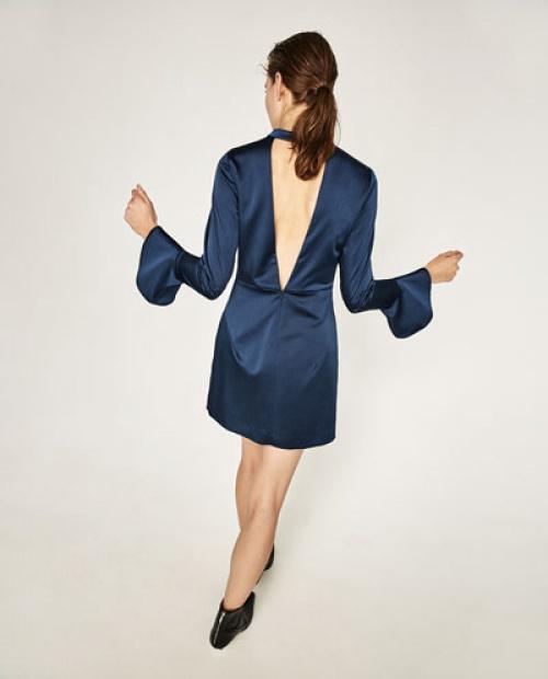 Zara robe décolleté v satin bleu