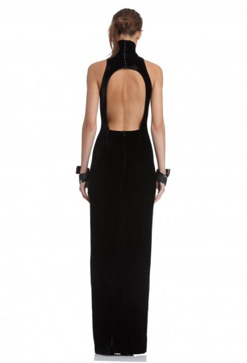 AQ/AQ robe longue noire à découpe dos