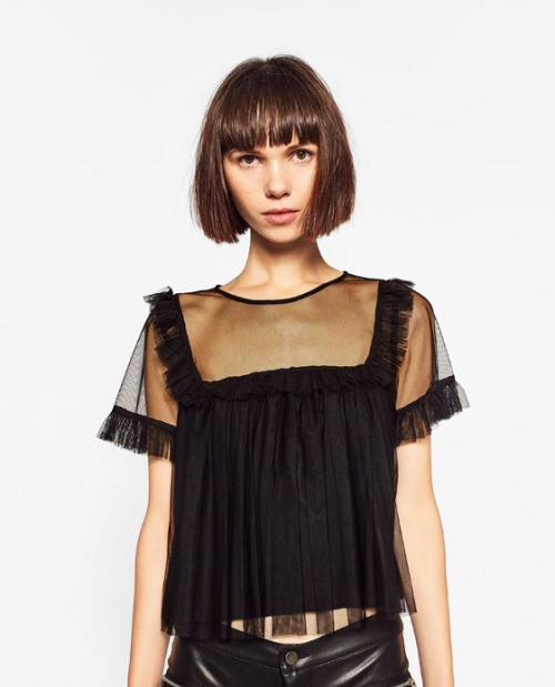 Zara top transparent noir à froufrou