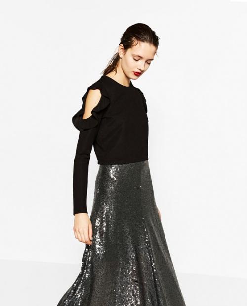 Zara top noir épaules dénudées