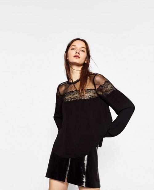 Zara top transparetn et noir dentelle