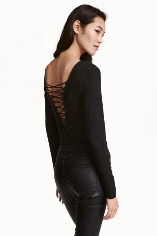 H&M body noir laçage dos
