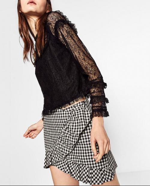 Zara top dentelle noire