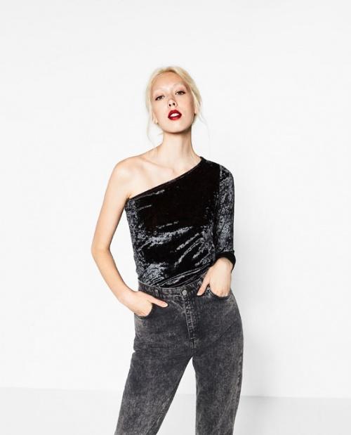 Zara asymétrique body velours