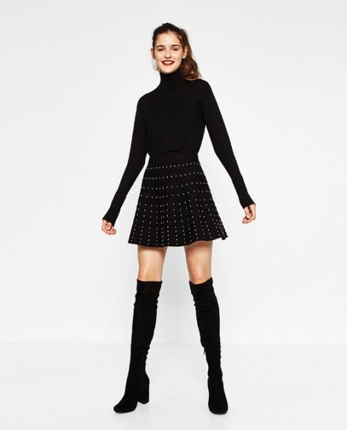 Zara - Jupe à clous noire