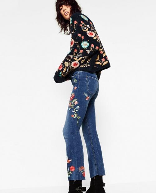 Zara - Pantalon jean brodé