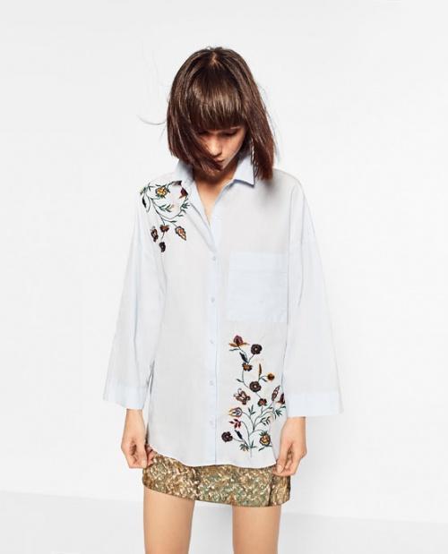 Zara - Chemise brodée fines fleurs