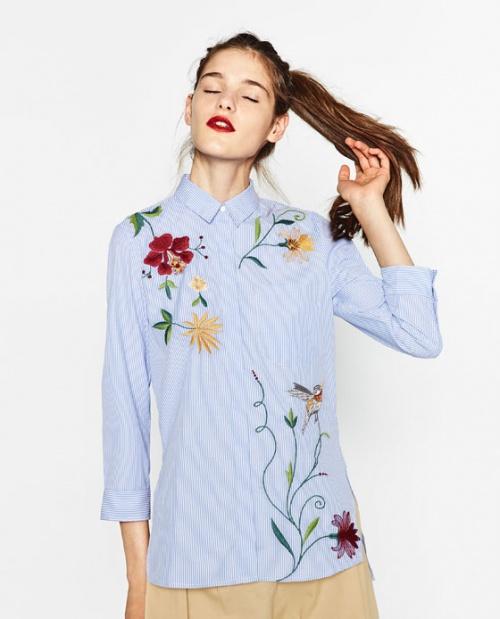 Zara - Chemise brodée fleurs