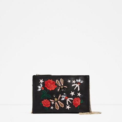 Zara - Pochette brodée fleurie