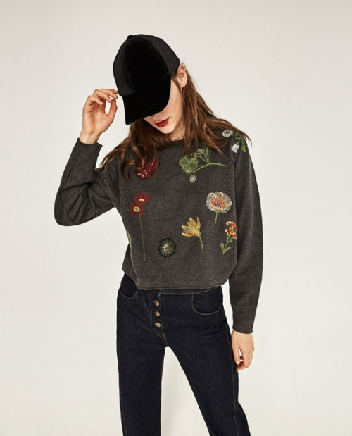 Zara - Sweat brodé fleurs