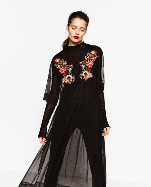Zara - Robe  transparente brodée fleurs