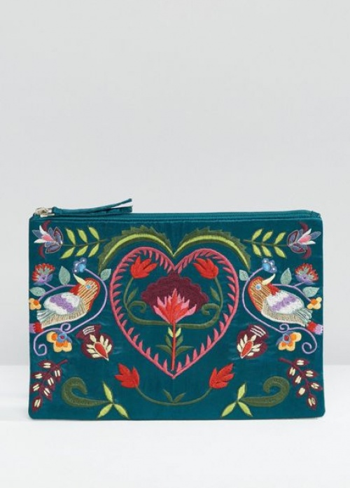 Glamorous - Pochette brodée fleurs