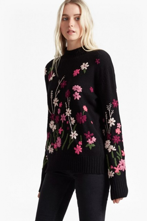 French Connection - Pull brodé fleurs