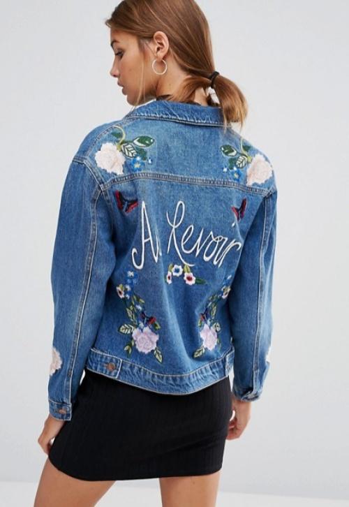 New Look - Veste jean brodée dos