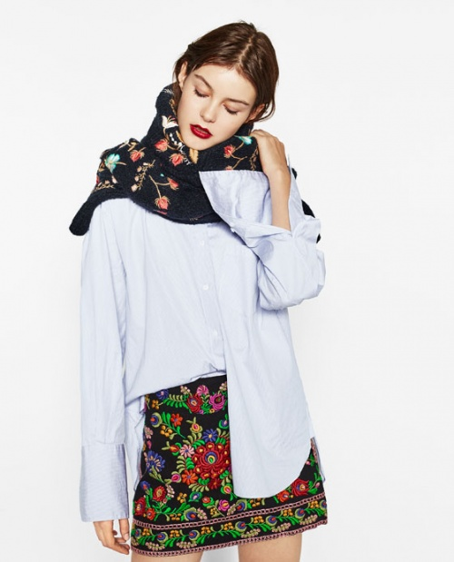 Zara - Jupe brodée fines fleurs