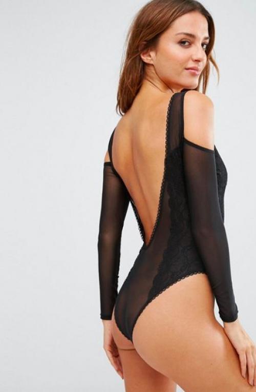 Asos - Body épaules dénudées en dentelle et en tulle