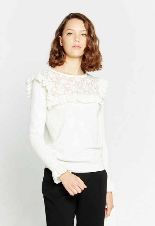 Claudie Pierrot - Pull dentelle volants