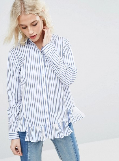 Asos chemise fines rayures volant ourlet