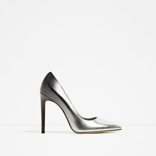 Zara escarpins métallisés argent