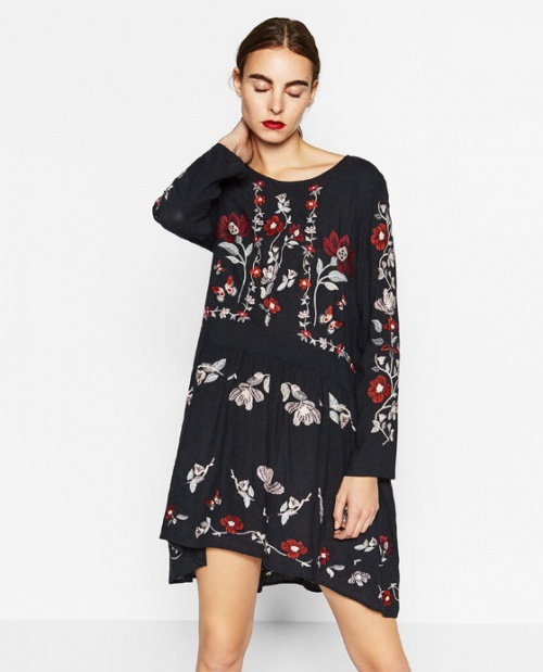 Zara robe ethnique brodée
