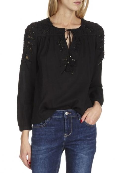 Antik batik blouse noire brodée