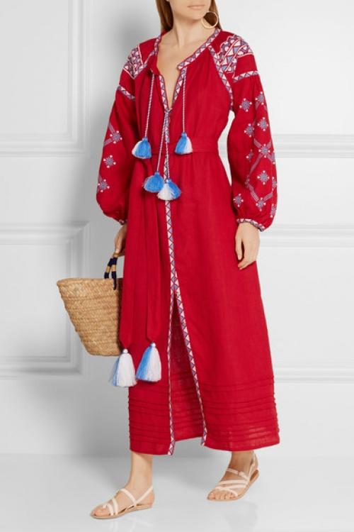 March 11 robe ethnique longue brodée