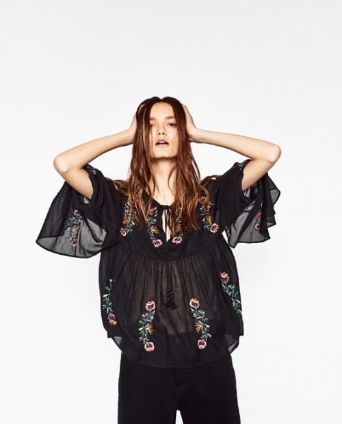 Zara blouse ethnique broderies