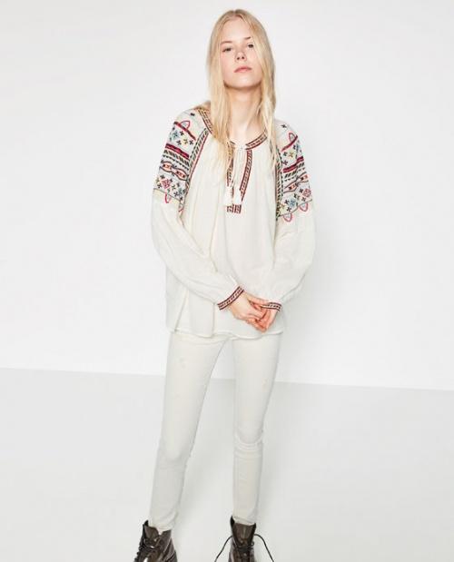 Zara blouse ethnique brodée