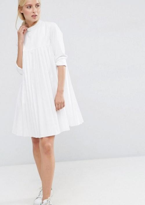 Asos robe blanche plissée