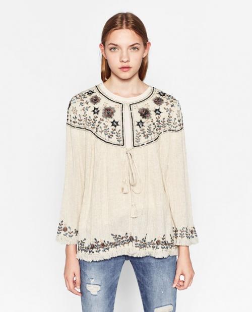 Zara blouse brodée