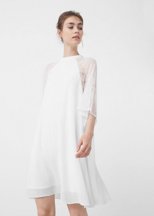 Mango robe blanche et dentelle
