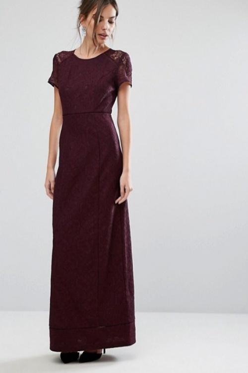 Warehouse robe longue bordeaux