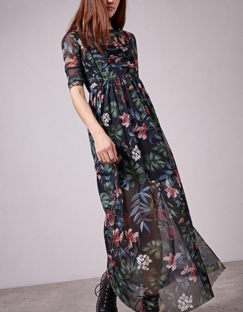 Stradivarius robe longue à motif fleurie