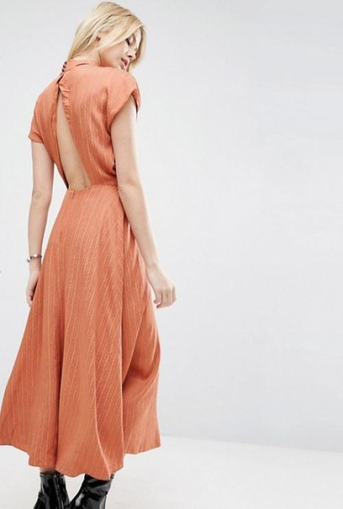 Asos robe longue corail dos ouvert