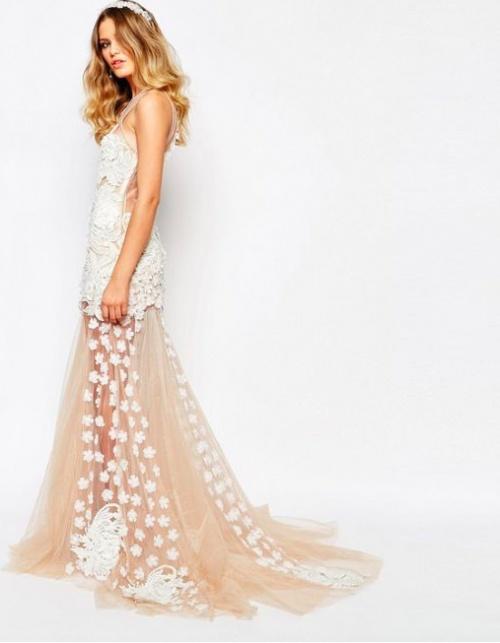 A Star Is Born - Robe longue de mariée de luxe avec fleurs appliquées et jupe évasée en 3D