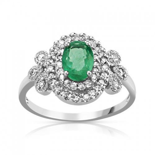 Bague de fiançailles Or blanc, émeraude et diamants