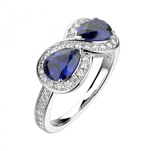 Bague de fiançailles Or blanc, Saphir et diamants
