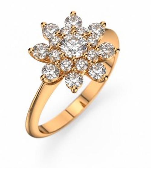 Bague de fiançailles Or jaune et diamants