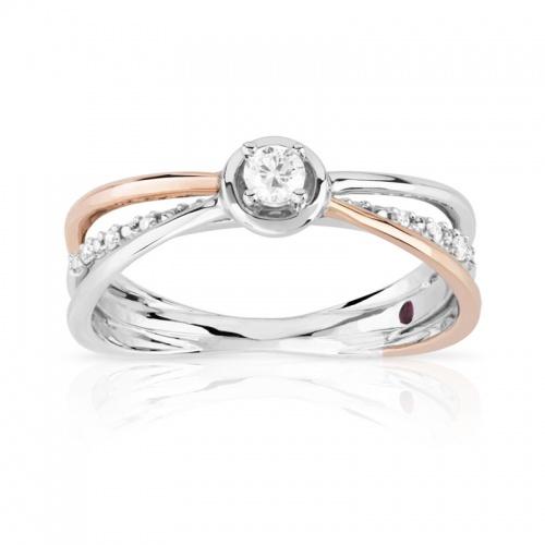 Bague de fiançailles Or rose, or blanc et diamant