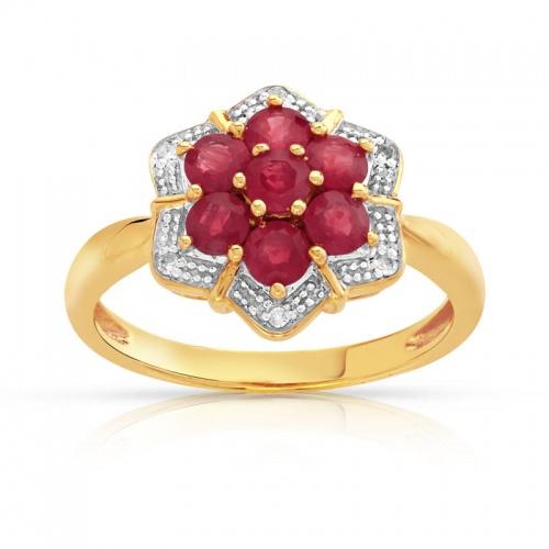 Bague de fiançailles Or jaune, rubis et diamants